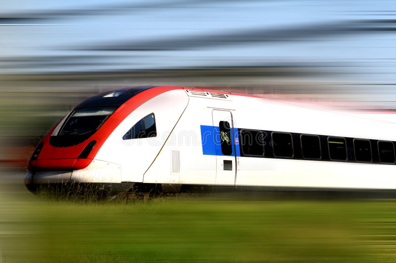 Train. Fast moving generic train. Motion blur stock photo