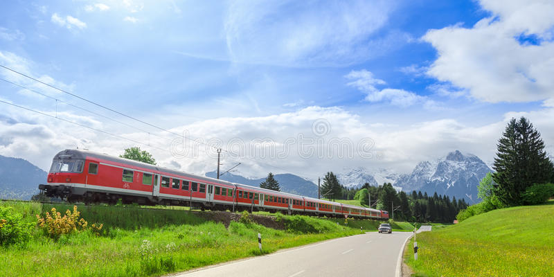 Train in Alpine Scenery stock photos