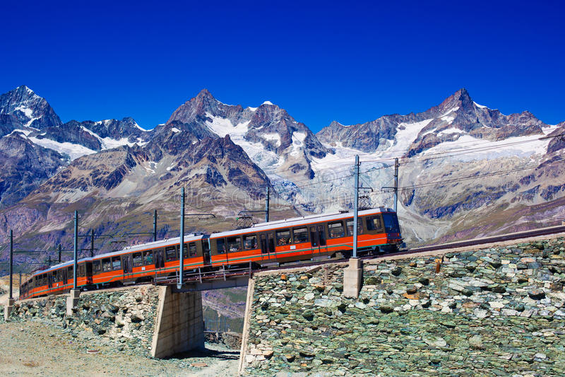 Train in Alps stock photos