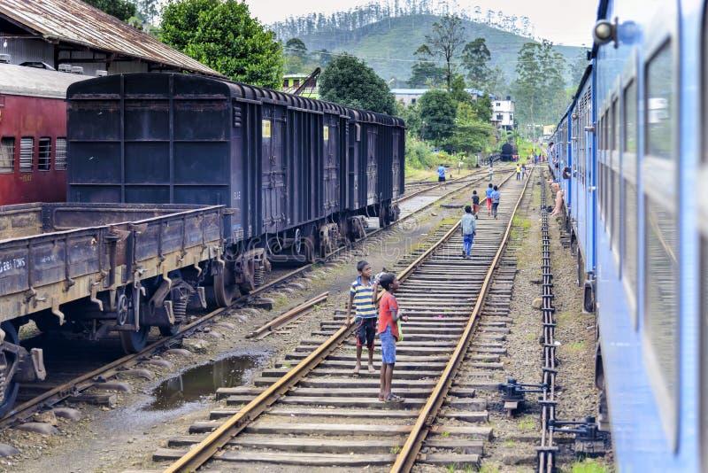 Train approchant la station de Kotagala, Sri Lanka photos libres de droits