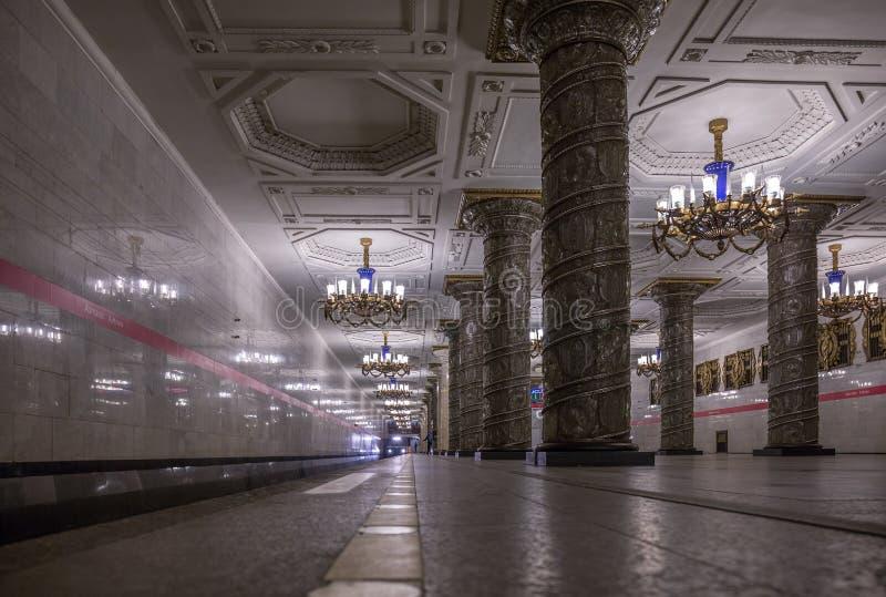 Train arrival on Avtovo metro station in Saint Petersburg stock photo