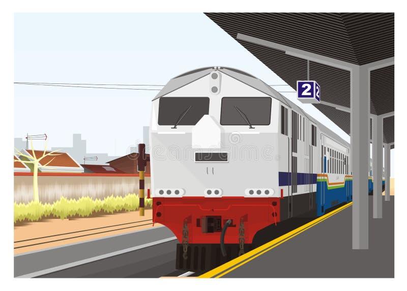 Train arrive in railway station. Simple perspective illustration of a train arrive in a railway station vector illustration