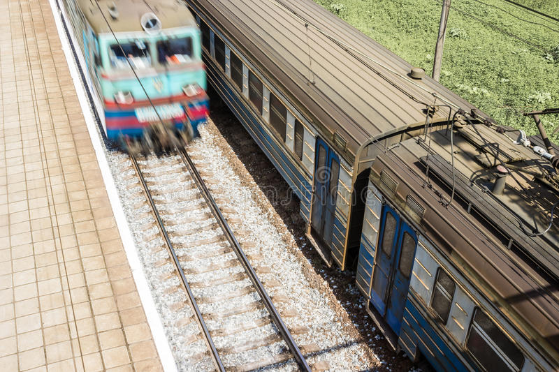 Railway Carriages Long-distance Train Station Stock Photo