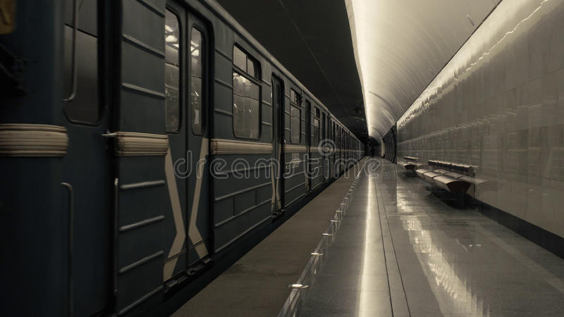 The train arriving to the subway station royalty free stock photos