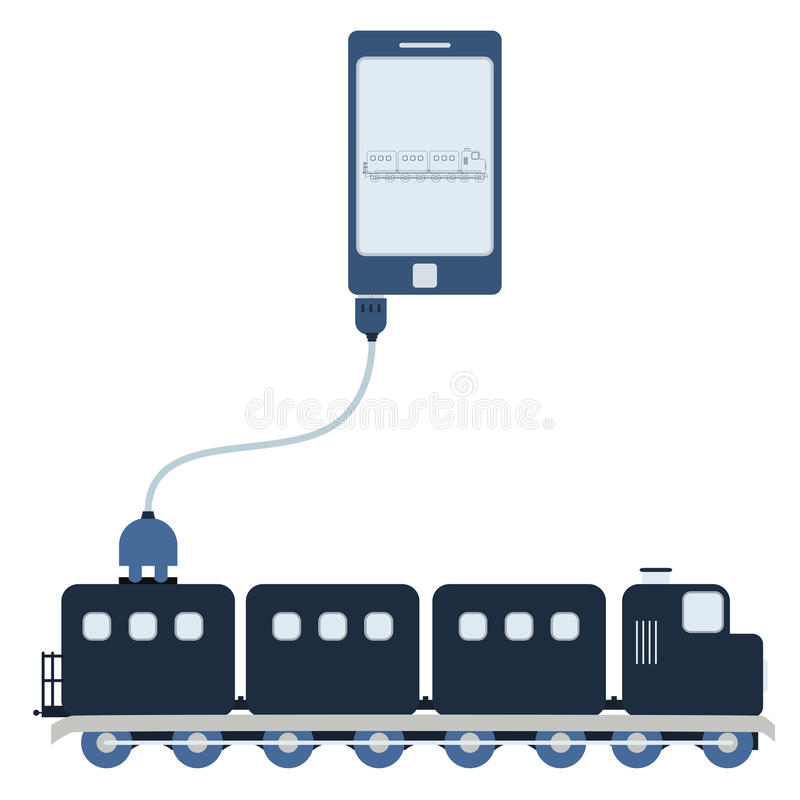 Train automation using cell phone. Train connected to a cell phone through a usb cable. Outline of the train being shown on the mobile monitor. Flat design royalty free illustration