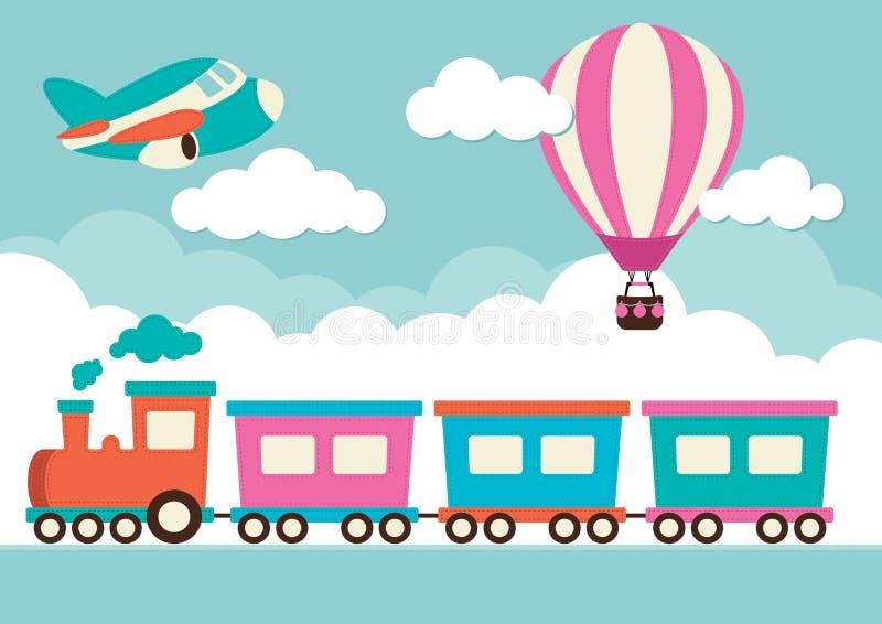 Train, ballon à air chaud et avion illustration stock