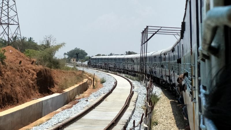 Train. A beautiful click on a journey in the morning stock photography