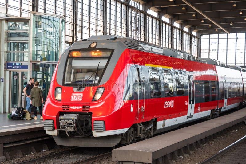 Train at Berlin Zoologischer Garten railway station stock photo