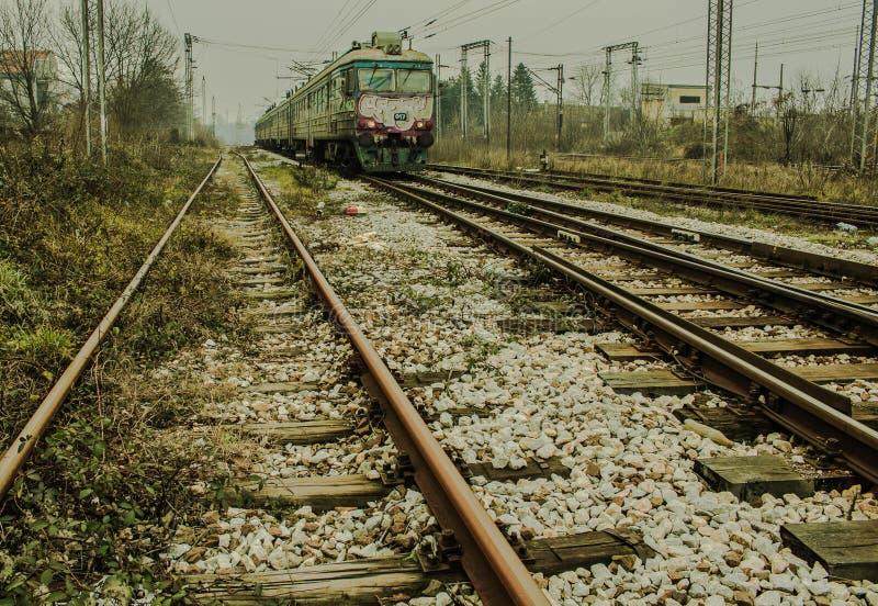TRAIN (BG-VOZ) ARRIVING INTO THE STATION stock photo
