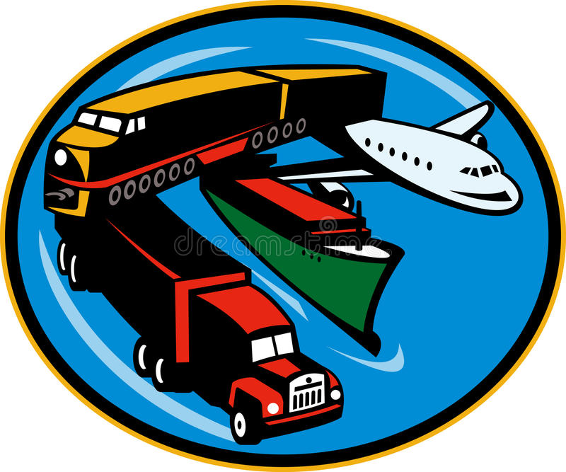 Train boat plane truck transport. Illustration on land, sea, and air freight, transportation and travel stock illustration