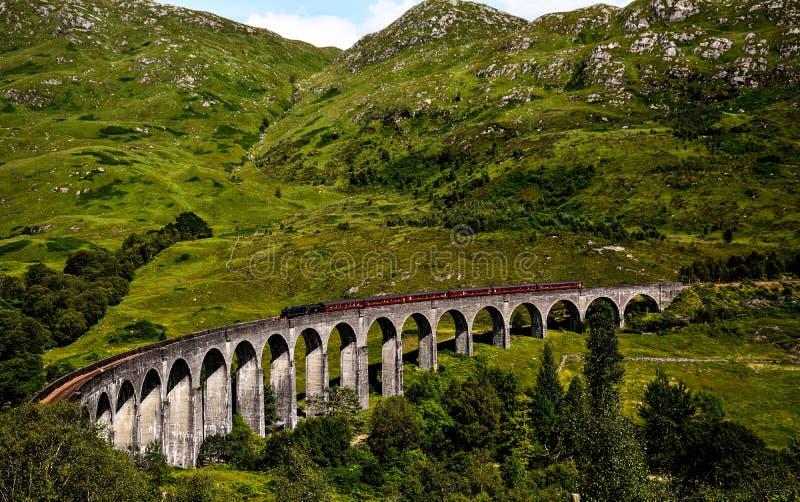 Train bridge in Glenfinnan. Viaduct stock image