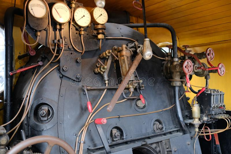 Train cab of steam trains royalty free stock photo