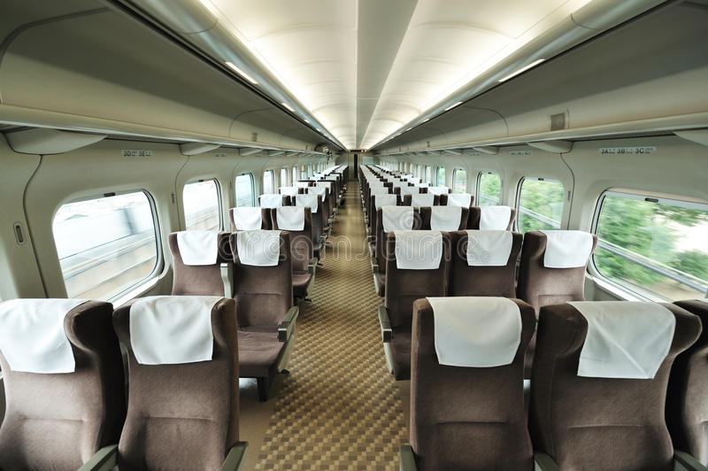 Train car seat. Speed train car seat interior royalty free stock images