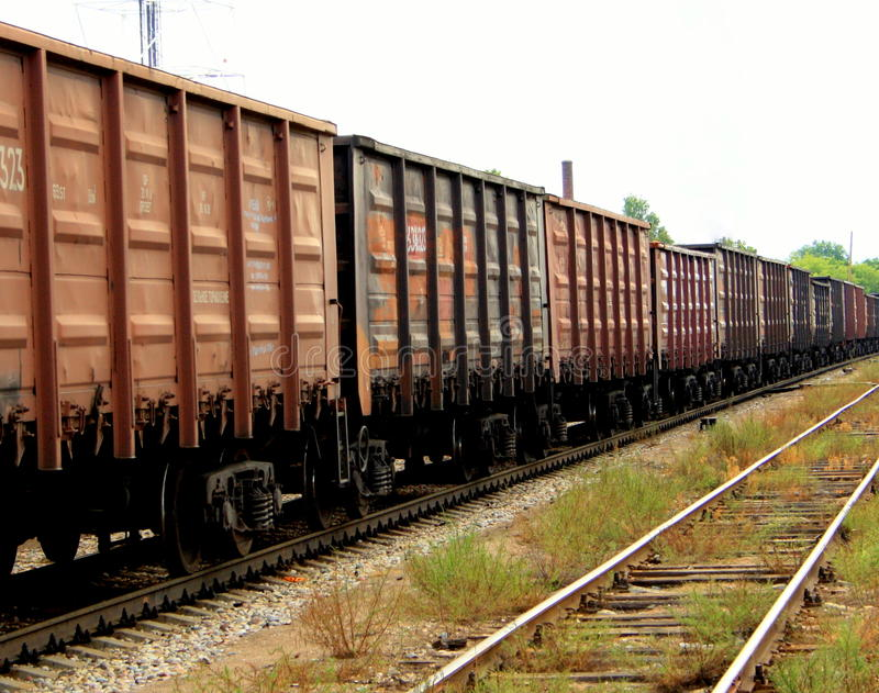 Train with cargo containers royalty free stock photo