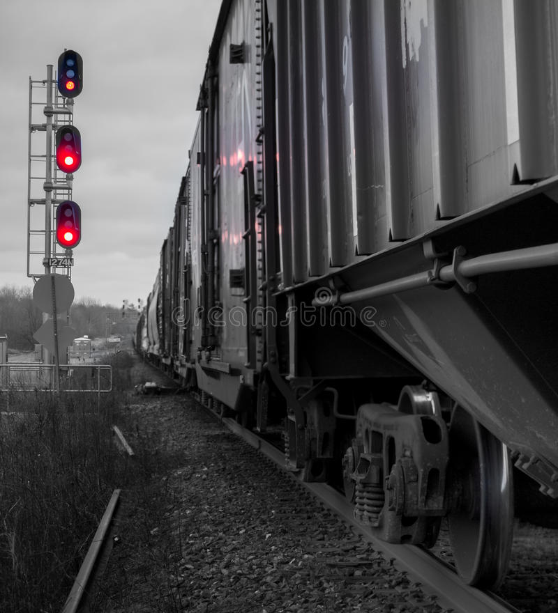 Train cars and signals stock image