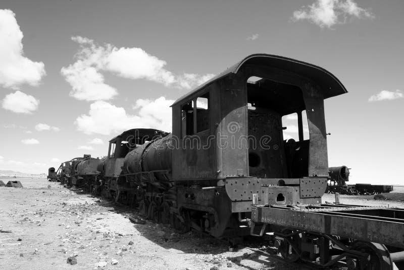 Train cemetary, Salar de Uyuni, Bolivia royalty free stock photos