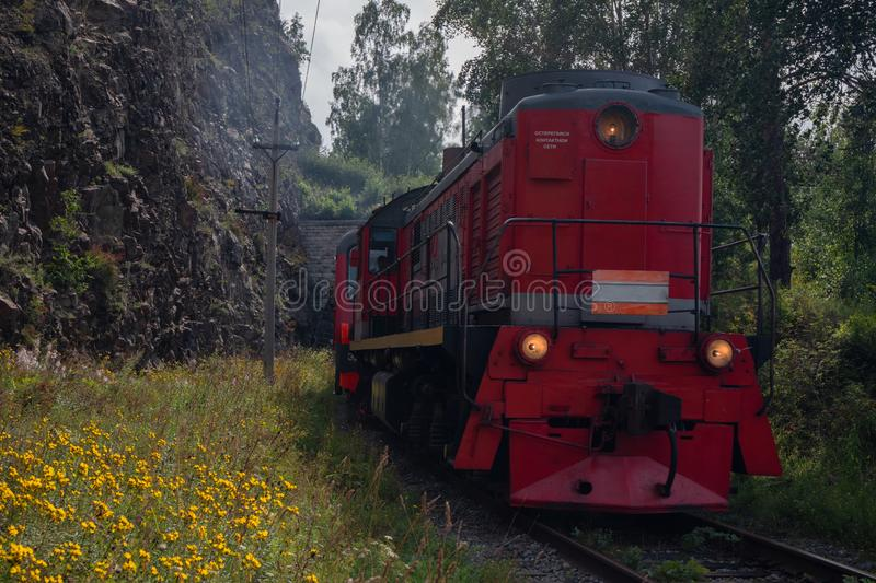 Train on Circum-Baikal Railway royalty free stock images