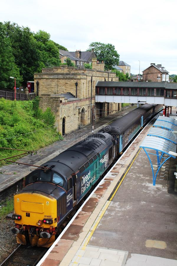 Train with class 37 diesel locomotive in Lancaster royalty free stock photos