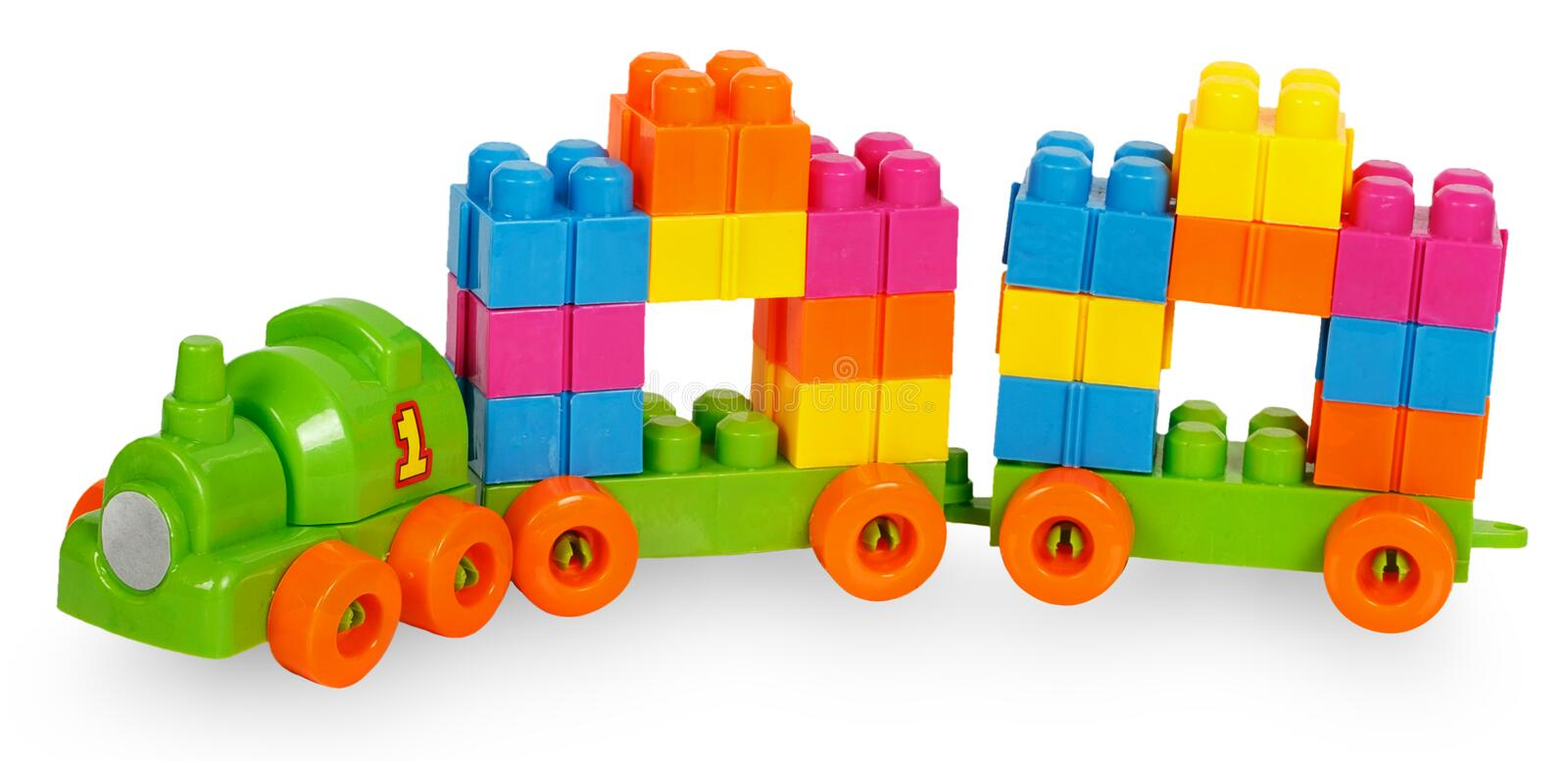 Train of colorful childrens building bricks. Isolated on white background stock photos