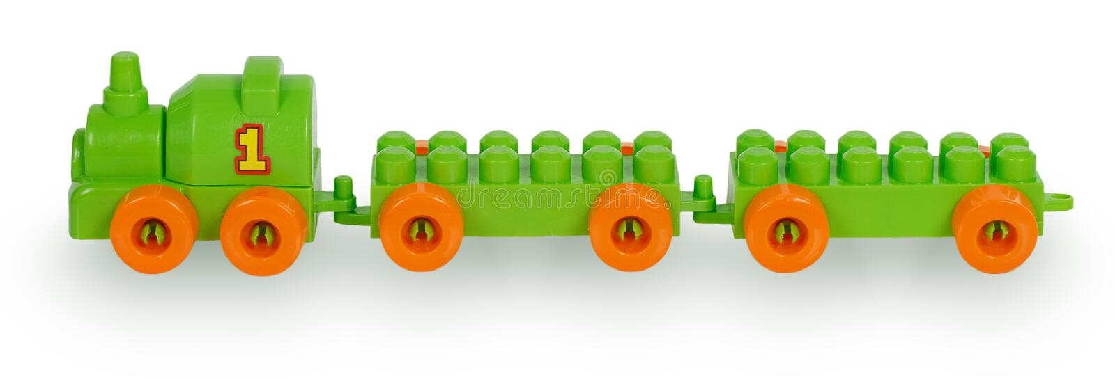 Train of colorful childrens building bricks. Isolated on white background royalty free stock photo