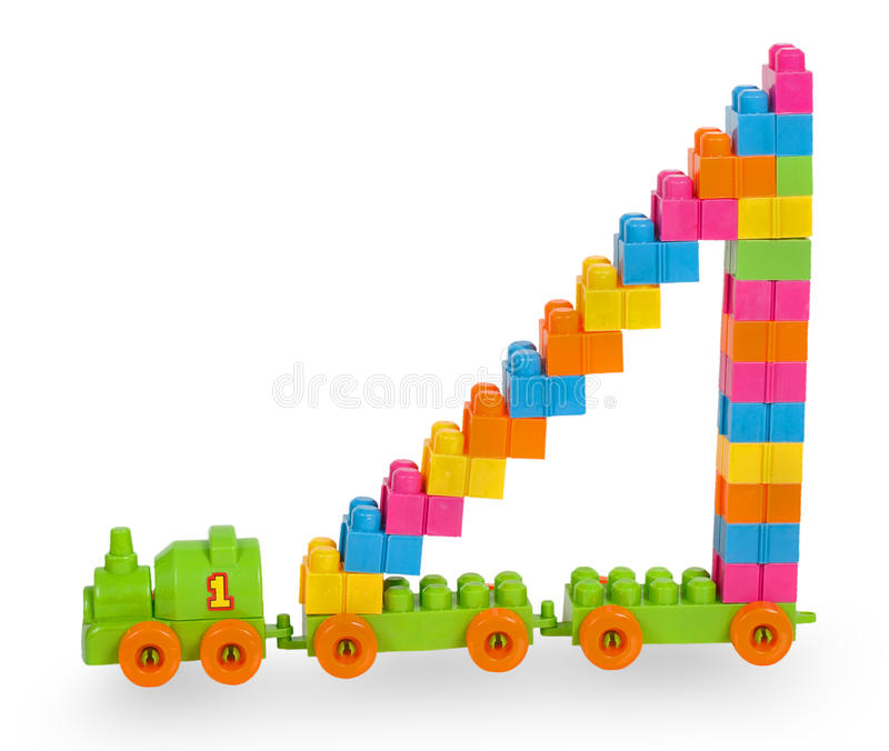 Train of colorful childrens building bricks with staircase. Isolated on white background royalty free stock photos