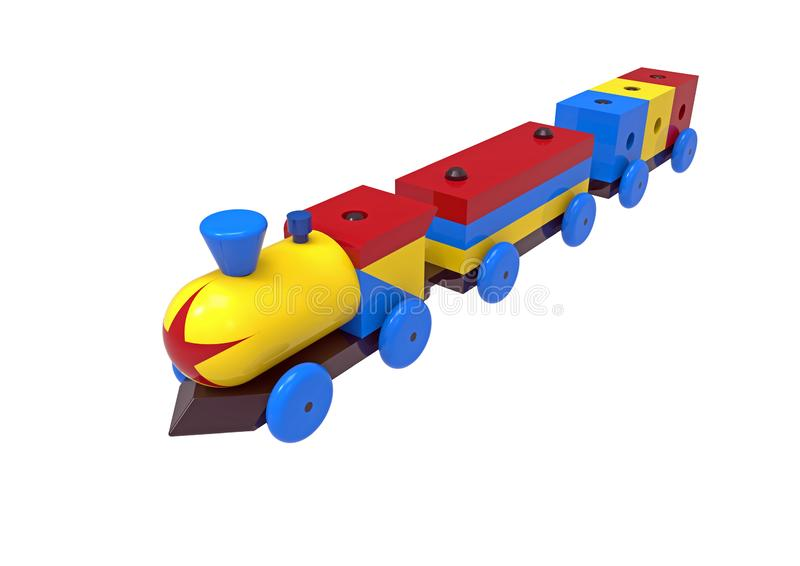 Train, colorful wooden toy royalty free illustration