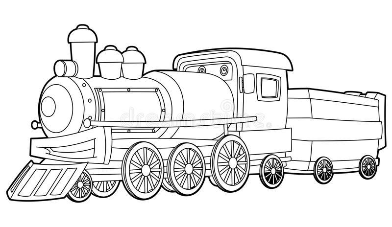 Train - coloring page for the children royalty free illustration