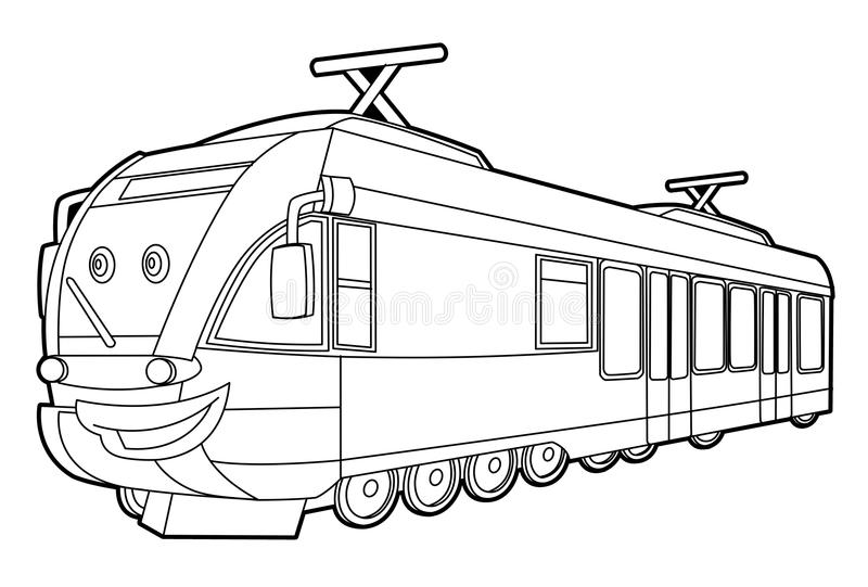 Train - coloring page for the children vector illustration
