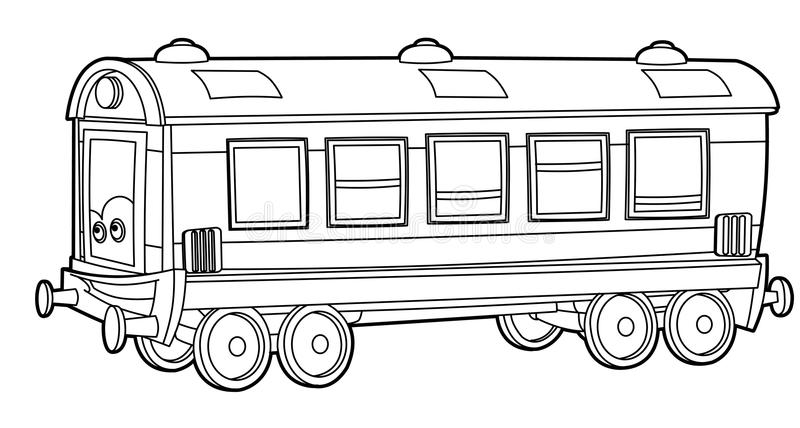 Train - coloring page for the children stock illustration