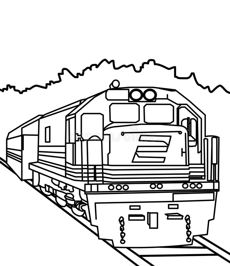Train coloring page. Hand drawn big train coloring page for kids stock illustration