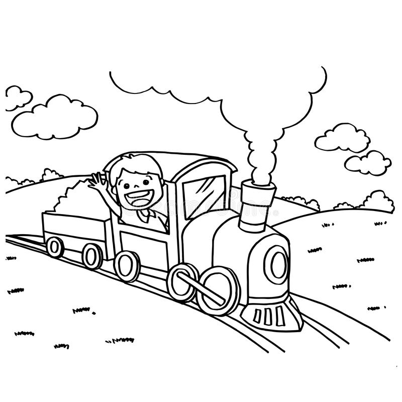 Download train coloring pages vector stock vector illustration of driver doodle 58640815