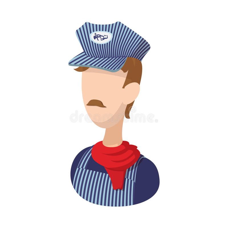 Train conductor cartoon icon. On a white background stock illustration