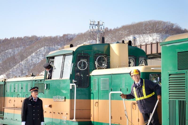 Train Conductor in Hokkaido, Japan stock image