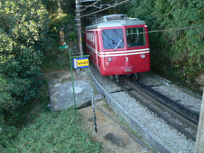 Train of the Corcovado. In the curve of the O stock photos
