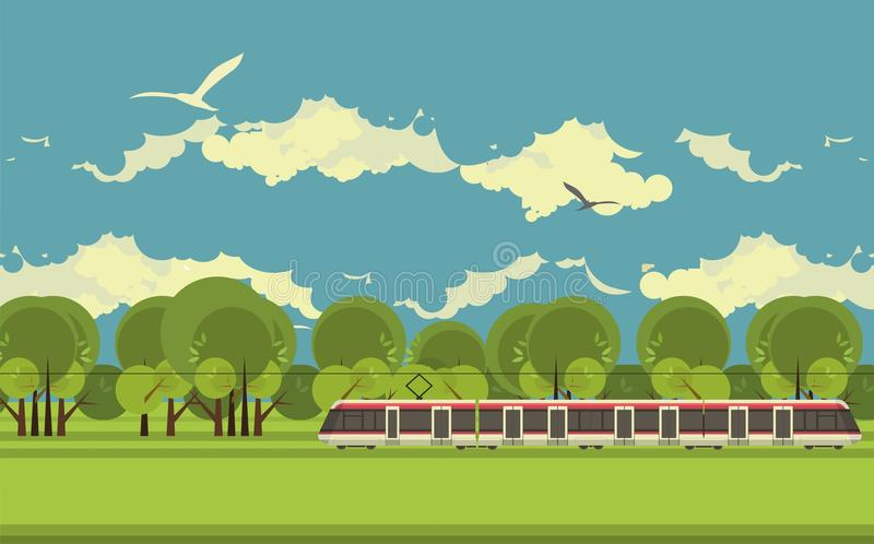 Train in the countryside stock illustration