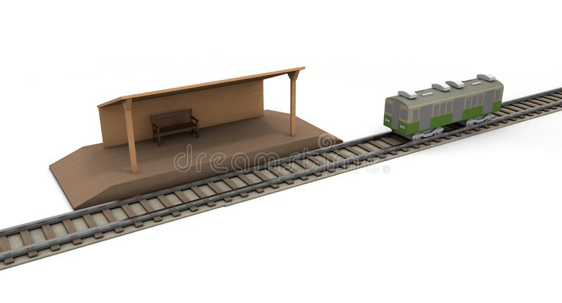 Train Countryside station 3D illustration. Countryside station. I will go home. A lonely station. Head to the destination. Transportation facilities. A decided vector illustration