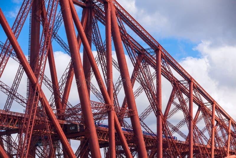Train crosses the Forth Railway Bridge in Edinburgh, Scotland royalty free stock images
