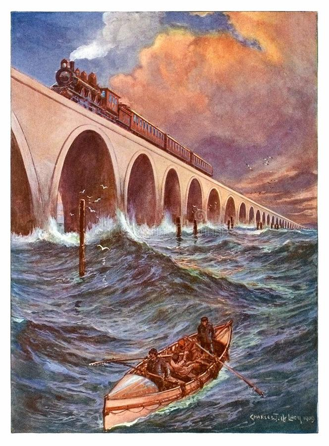 Train Crossing the Bay of Florida stock photos