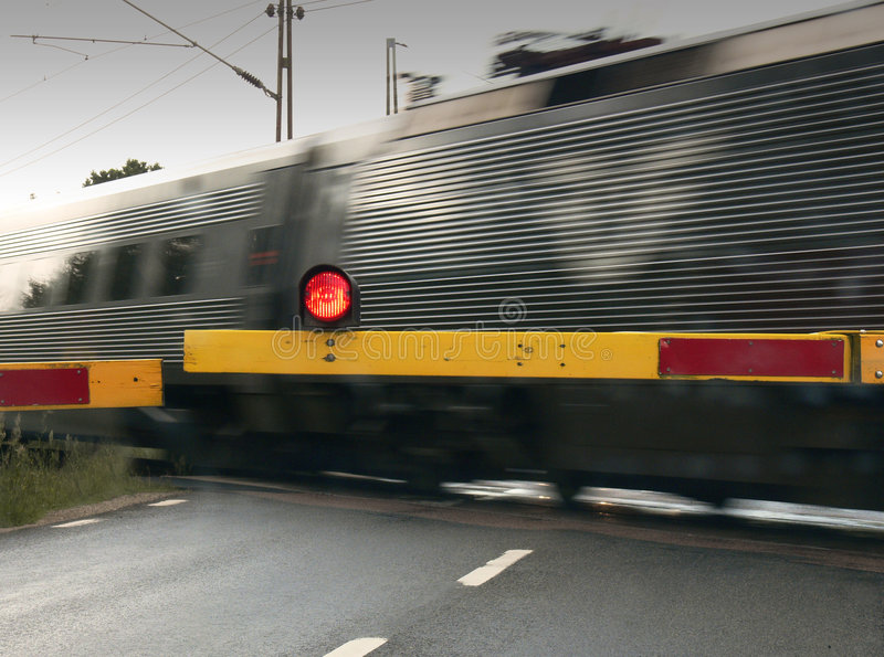Train crossing the Road stock image