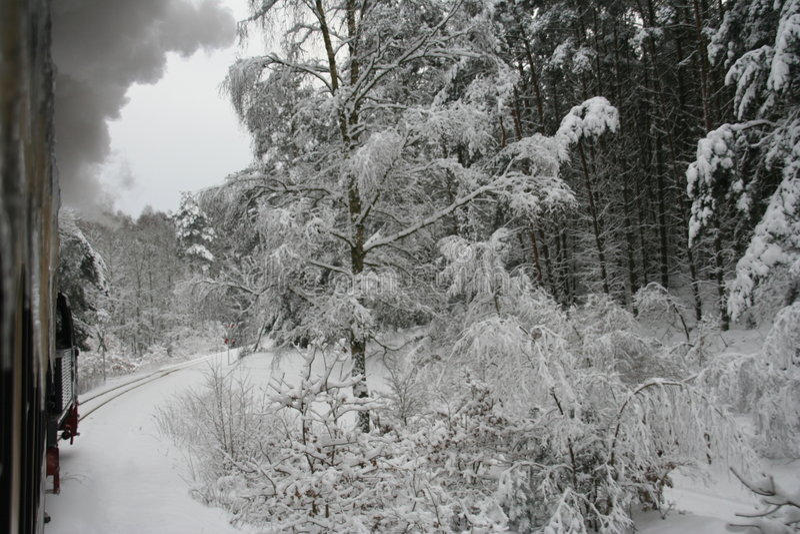 Train dans le winterlandscape photos libres de droits