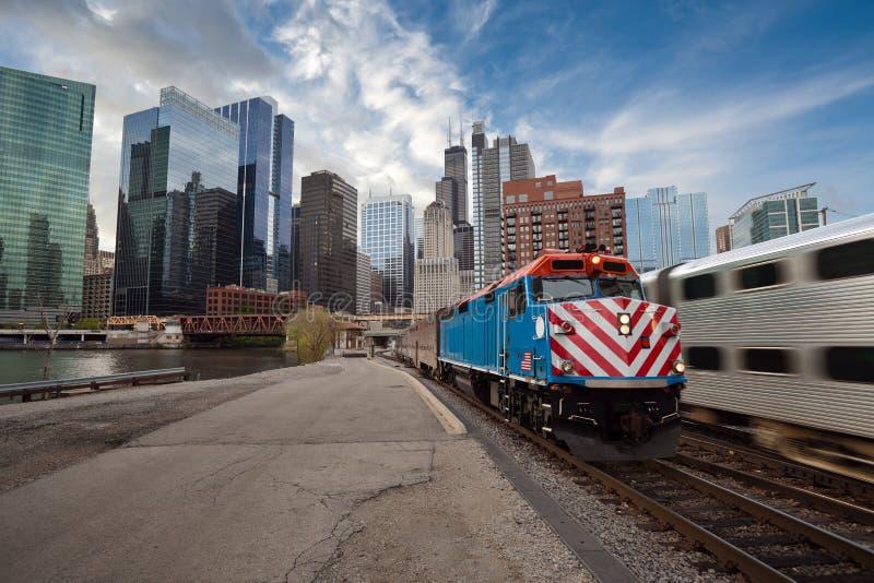 Train de Chicago Metra. photos libres de droits