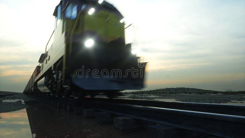 Train de fret avec des conteneurs de cargaison Contre le lever de soleil rendu 3d illustration stock