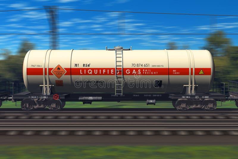 Train de fret avec des véhicules de camion-citerne d'essence illustration libre de droits