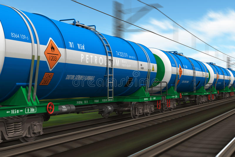 Train de fret avec des véhicules de camion-citerne de pétrole illustration de vecteur