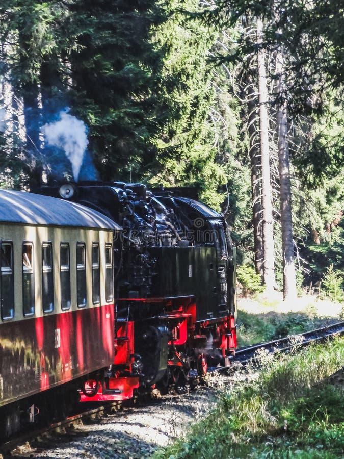 Train de machine à vapeur montant au brocken dans la région de Harz photo stock