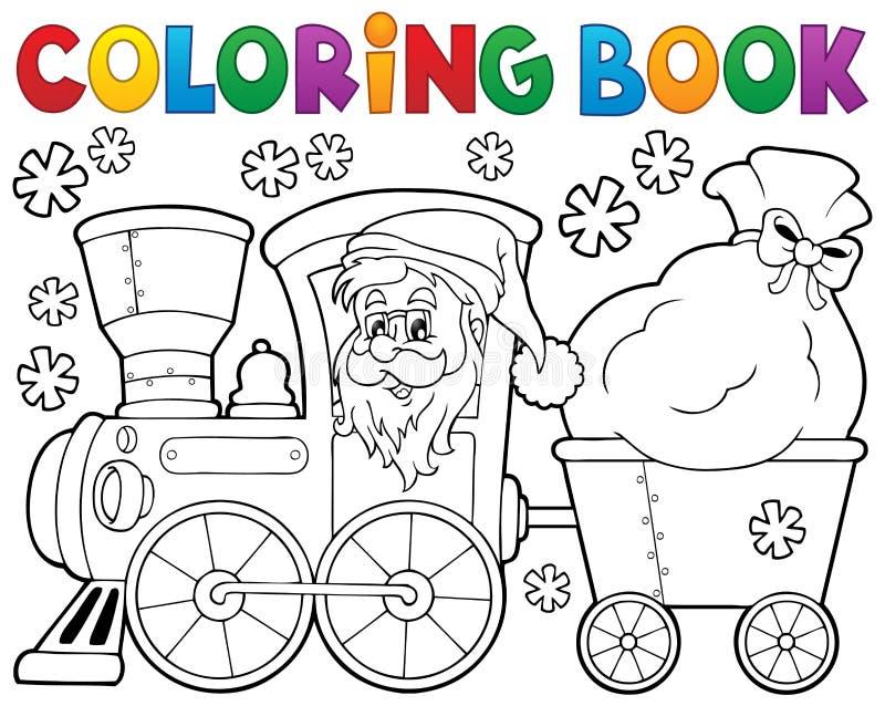 Train 1 de Noël de livre de coloriage illustration de vecteur