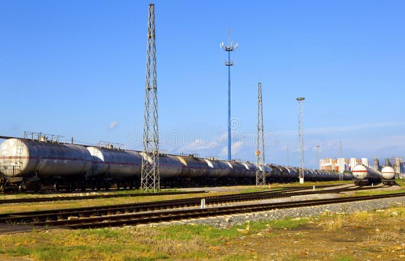 Train de réservoir de stockage de pétrole image libre de droits