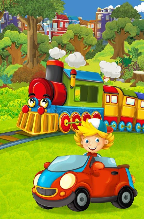 Train de regard drôle de vapeur de bande dessinée passant par la ville et l'enfant conduisant dans la voiture de jouet devant ell images libres de droits