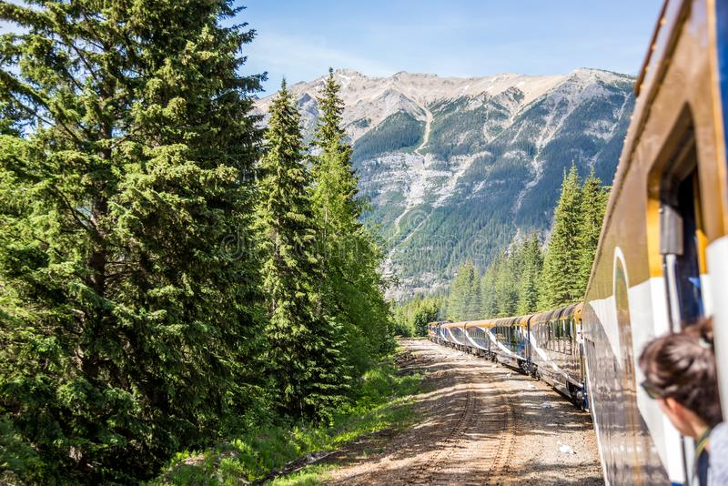 Train de Rocky Mountaineer voyageant par Rocky Mountains photo libre de droits