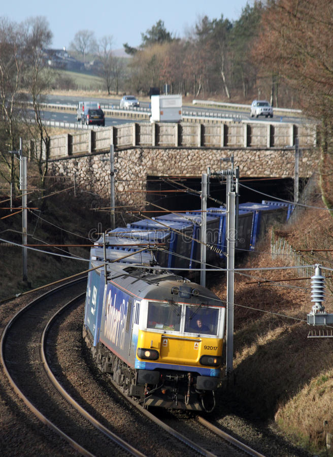 Train de Tesco près de Lowgill dans Cumbria. photo stock